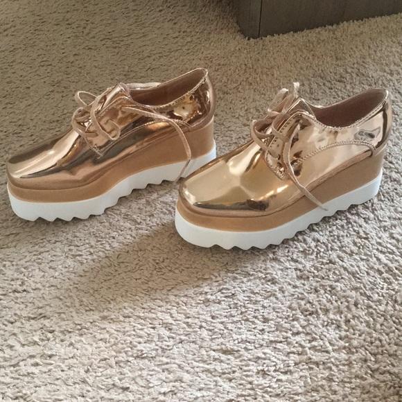 Nwb Rose Gold Platform Oxfords Sneakers